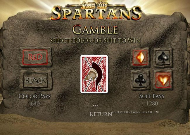Age of Spartans :: Gamble Feature - To gamble any win press Gamble then select Red or Black or Suit