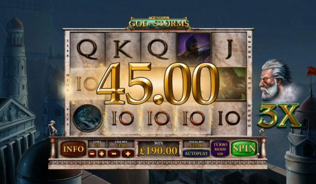 Winner Online featuring the Video Slots Age of the Gods God of Storms with a maximum payout of $25,000