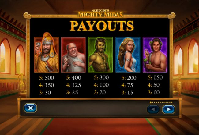 Grand Reef featuring the Video Slots Age of the Gods Mighty Midas with a maximum payout of $1,000,000