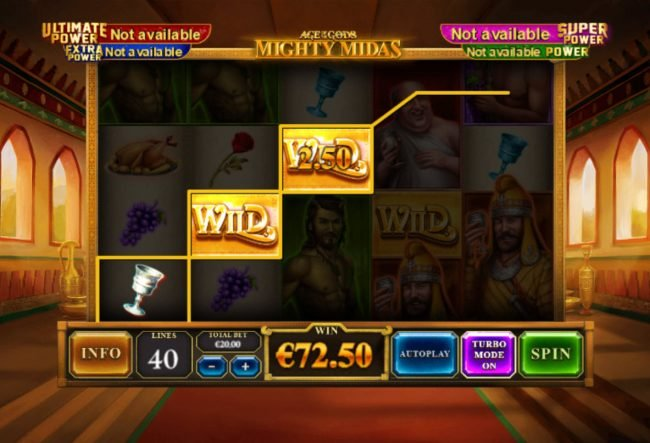 Titanbet.it featuring the Video Slots Age of the Gods Mighty Midas with a maximum payout of $1,000,000