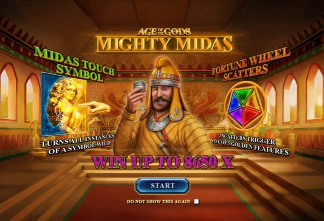 William Hill Casino Club featuring the Video Slots Age of the Gods Mighty Midas with a maximum payout of $1,000,000