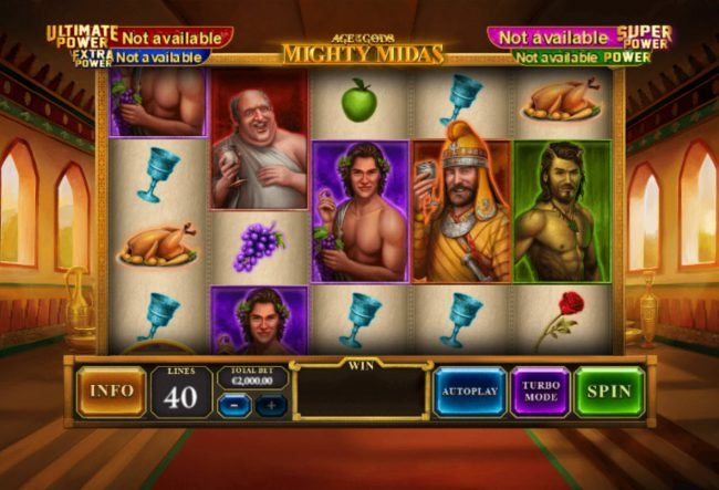 Come On featuring the Video Slots Age of the Gods Mighty Midas with a maximum payout of $1,000,000