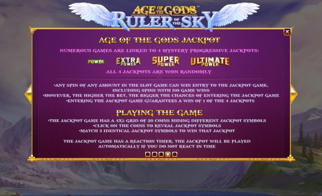 21 Nova featuring the Video Slots Age of the Gods Ruler of the Sky with a maximum payout of $400,000