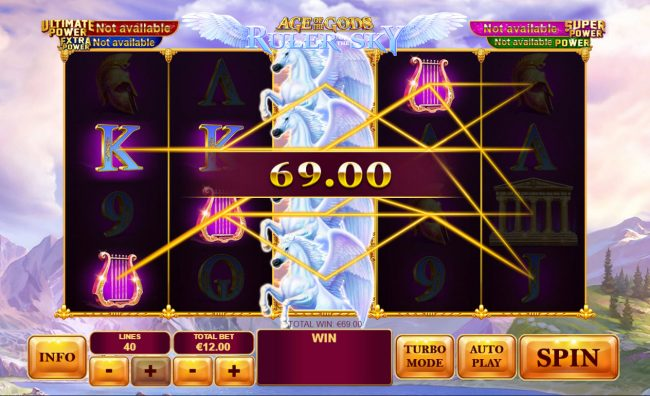 Omni featuring the Video Slots Age of the Gods Ruler of the Sky with a maximum payout of $400,000