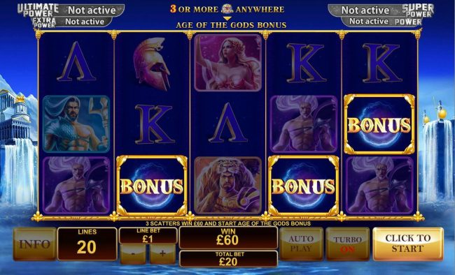 Three scatters win 60.00 and start Age of the Gods Bonus.