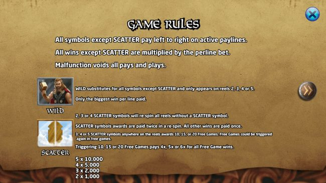 Age of Vikings :: Wild and Scatter Symbol Rules