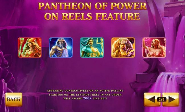 Pantheon of Power on reels feature - Appearing consecutively on an active payline starting on the leftmost reel in any order will award 200x line bet!