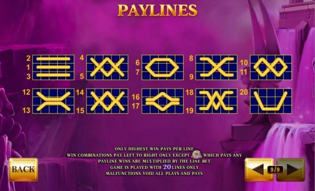 Payline Diagrams 1-20. Only highest win pays per line.