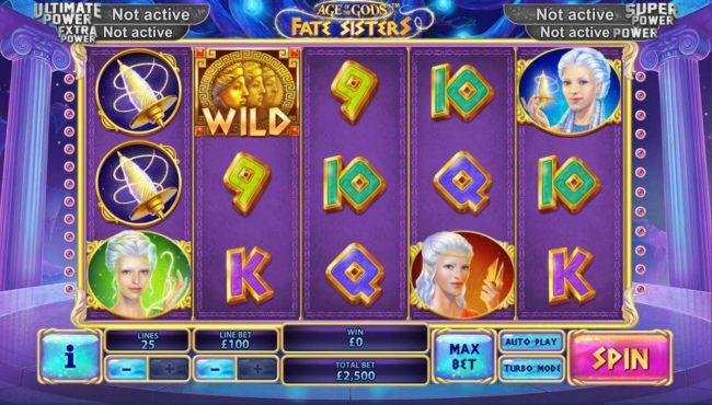 Age of the Gods Fate Sisters :: Main game board featuring five reels and 20 paylines with a progressive jackpot max payout