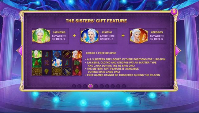 Age of the Gods Fate Sisters :: The Sisters Gift Feature Rules - Land each sister on reels 1, 3 and 5 awards 1 free re-spin!