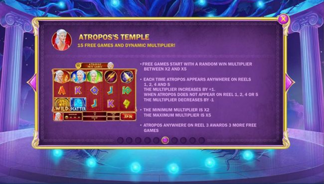 Age of the Gods Fate Sisters :: Atroposs Temple Game Rules - 15 free games and dynamic multiplier!