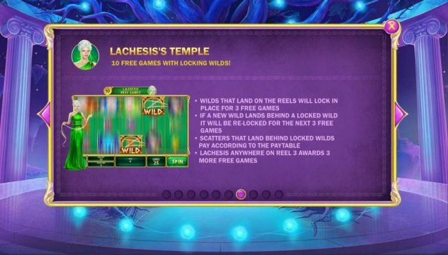 Age of the Gods Fate Sisters :: Lachesiss Temple Game Rules - 10 free games with locking wilds!
