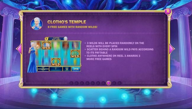 Age of the Gods Fate Sisters :: Clothos Temple Game Rules - 8 free games with random wilds!