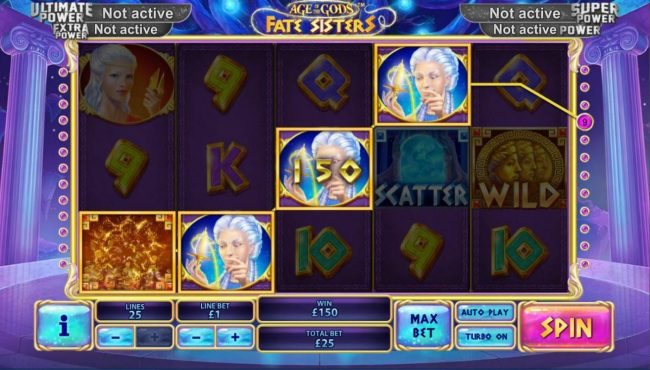 Betfred featuring the Video Slots Age of the Gods Fate Sisters with a maximum payout of Jackpot