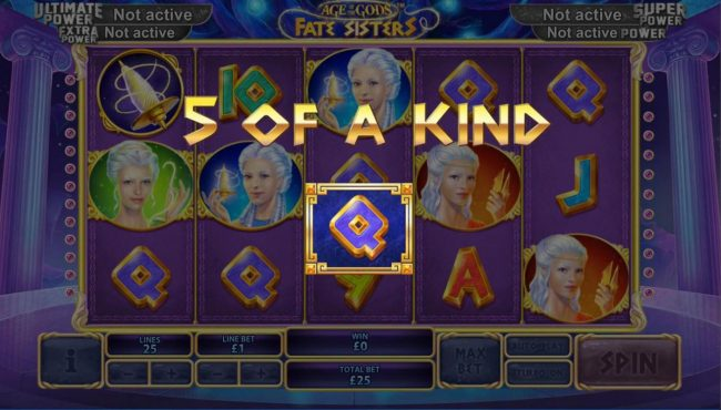 Age of the Gods Fate Sisters :: A winning Five of a Kind.