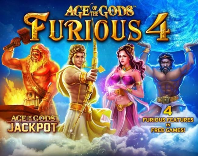 Age of the Gods Jackpot and 4 Furious Features in Free Games.
