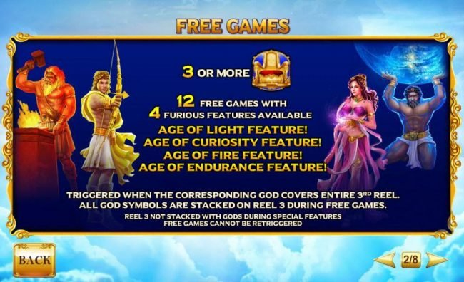 Three or more golden throne scatter symbols awards 12 free games with 4 furious features available.