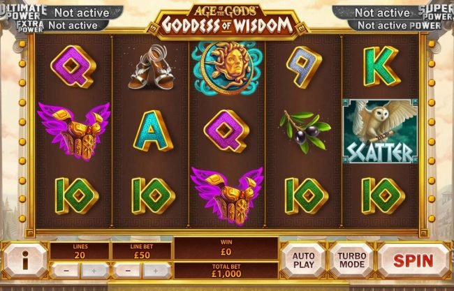 AdamEve featuring the Video Slots Age of the Gods Goddess of Wisdom with a maximum payout of Jackpot