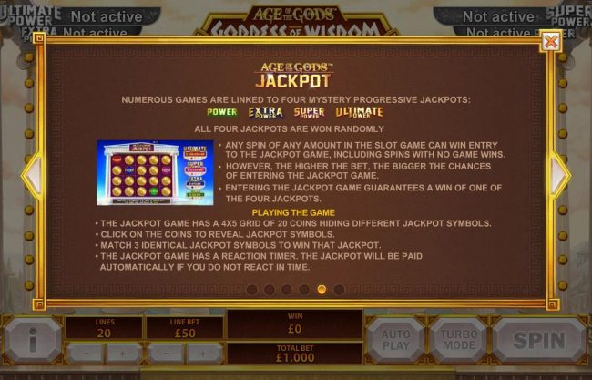 MANSION featuring the Video Slots Age of the Gods Goddess of Wisdom with a maximum payout of Jackpot