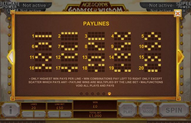 Vernons featuring the Video Slots Age of the Gods Goddess of Wisdom with a maximum payout of Jackpot