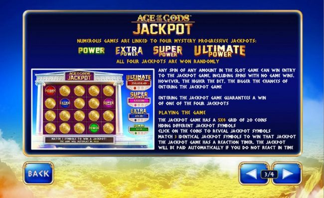 Numerous games are linked to four mystery progressive jackpots. All four jackpots are won randomly