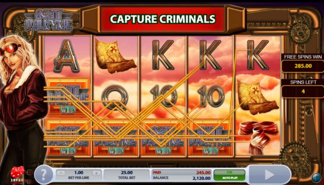 CKcasino featuring the Video Slots Agent Valkyrie with a maximum payout of $625,000
