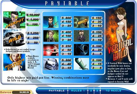 Miami Club featuring the Video Slots Agent Cash with a maximum payout of $100,000