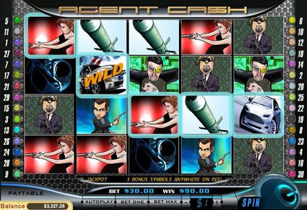 Liberty Slots featuring the Video Slots Agent Cash with a maximum payout of $100,000