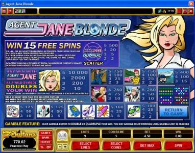 Bonanza featuring the Video Slots Agent Jane Blonde with a maximum payout of $50,000