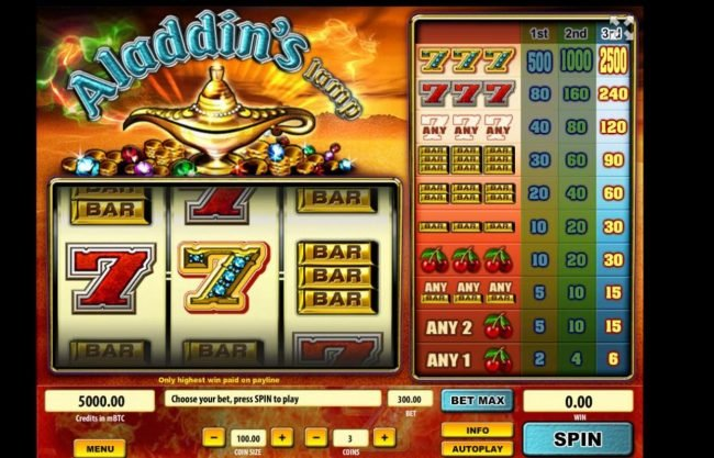 Play slots at Royale24: Royale24 featuring the Video Slots Aladdin's Lamp with a maximum payout of $250,000