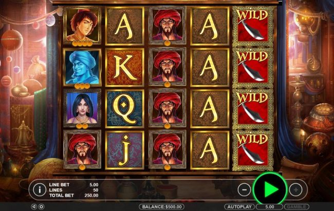 Vive Mon Casino featuring the Video Slots Aladdin's Magical Treasure with a maximum payout of $52,500