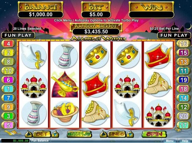 Fair Go featuring the video-Slots Aladdin's Wishes with a maximum payout of $250,000