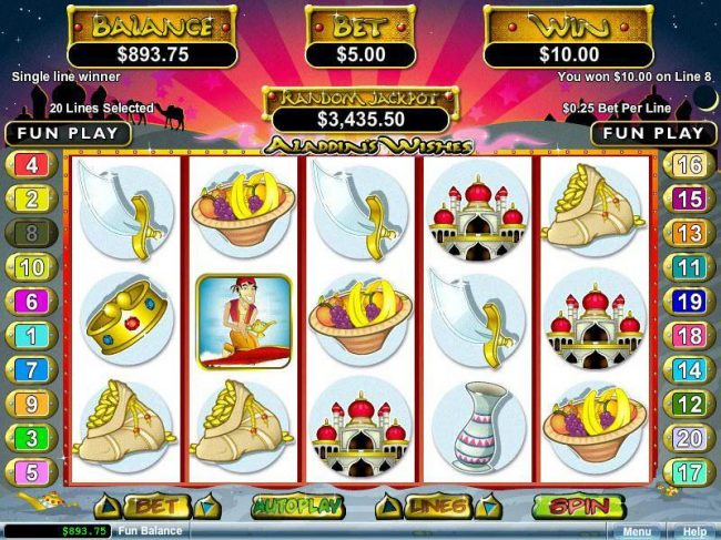 Dinkum Pokies featuring the video-Slots Aladdin's Wishes with a maximum payout of $250,000