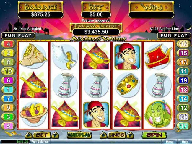 Ruby Slots featuring the video-Slots Aladdin's Wishes with a maximum payout of $250,000