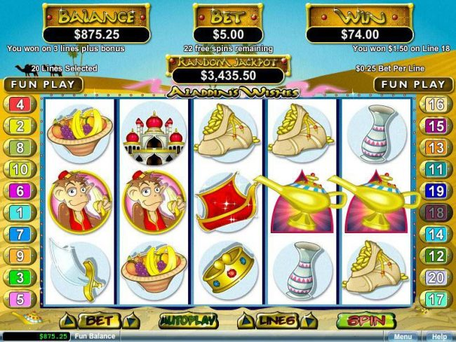 Play slots at Free Spin: Free Spin featuring the video-Slots Aladdin's Wishes with a maximum payout of $250,000