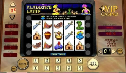 Play slots at Miami Dice: Miami Dice featuring the video-Slots Aladdin's Lamp with a maximum payout of 5,000x