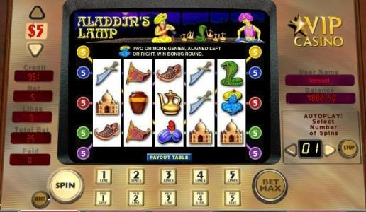 Casiplay featuring the video-Slots Aladdin's Lamp with a maximum payout of 5,000x