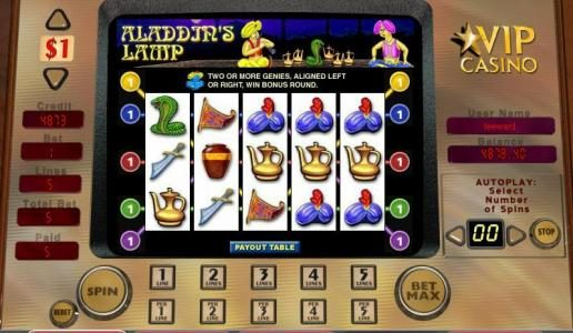 Casimba featuring the video-Slots Aladdin's Lamp with a maximum payout of 5,000x