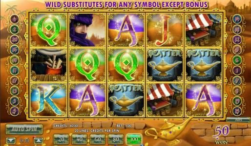 Aladdin's Legacy :: Three scatter symbols triggers free spins bonus feature