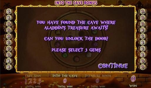 Aladdin's Legacy :: You have found the cave where Aladdins Treasure awaits! Cabn you unlock the door? Please Select 3 gems.