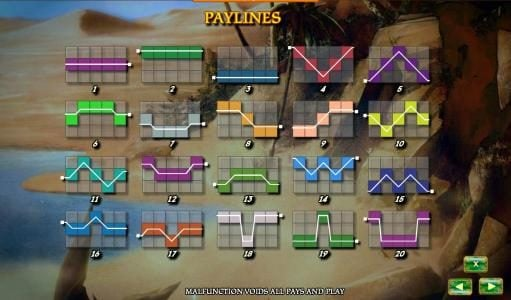Aladdin's Legacy :: 20 payline configuration diagrams