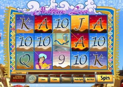 Lake Palace featuring the Video Slots Aladdin's Loot with a maximum payout of $7,500