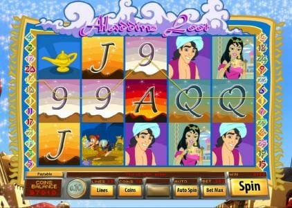 Big Dollar featuring the Video Slots Aladdin's Loot with a maximum payout of $7,500