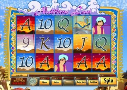 Jumba Bet featuring the Video Slots Aladdin's Loot with a maximum payout of $7,500
