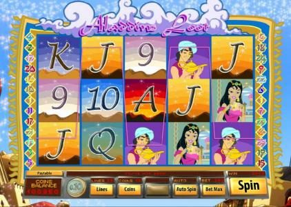 Platinum Reels featuring the Video Slots Aladdin's Loot with a maximum payout of $7,500