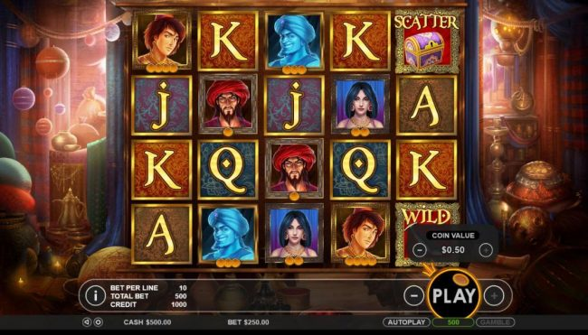 VipSpel featuring the Video Slots Aladdin's Treasure with a maximum payout of $52,500