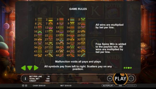 Payline Diagrams 1-50 - All wins are multiplied by the bet per line. Free spins win is added to the payline win. All wins are multiplied by the bet per line.