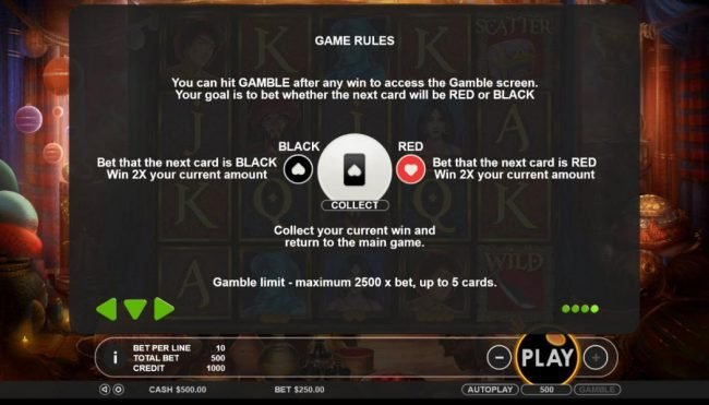 You can hit GAMBLE after any win to access the Gamble screen. Your goal is to bet whether the next card will be red or black.