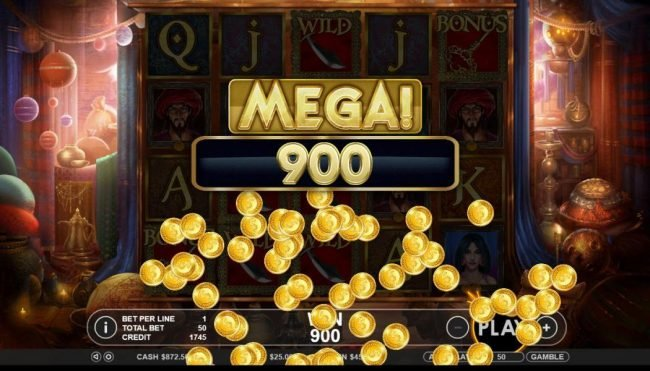 A 900 coin mega win is triggered by multiple winning lines.