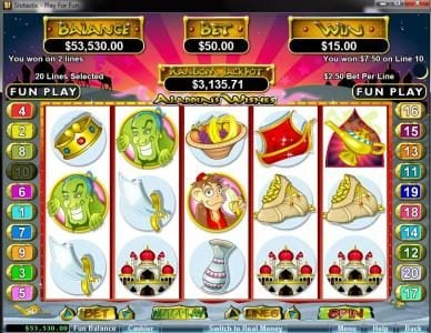 Play slots at Play Croco: Play Croco featuring the video-Slots Aladdin's Wishes with a maximum payout of $250,000